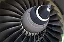 Close view of the fan blades and spinner in the Rolls Royce Trent 772B...