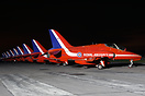 Red Arrows Hawk T1 XX242 heads the line-up of nine aircraft on the ram...