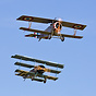 WWI biplane formation with Fokker DR1 Triplane (G-CDXR) in German Air ...
