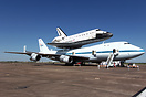 NASA's Shuttle Carrier Aircraft (SCA) and Endeavour (OV-105), making a...