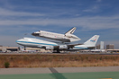 NASA's Shuttle Carrier Aircraft (SCA) and Endeavour (OV-105) arrive in...