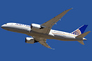 United Airlines first Boeing 787 Dreamliner (N20904) departing off run...