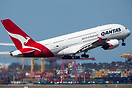 A Qantas A380 VH-OQF departs Sydney for LAX and a long flight ahead.