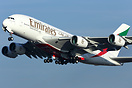 Emirates latest Airbus A380-800 A6-EEC departing London Heathrow's run...