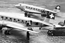 Two Swissair Douglas DC-2 aircraft together at Croydon Aerodrome. HB-I...