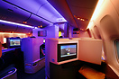 Cathay Pacific's new long-haul business class seats with mood lighting...