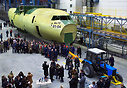 The fuselage for the first batch production An-70 is being rolled out
