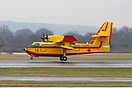 Bombardier CL415 C-GOJS (to be CNA-TO) arriving at Manchester for a te...