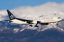 Air Canada with Star Alliance colors landing in Geneva, seen in front ...