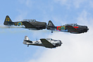 Swedish Air Force Historic Flight T-6 team with Sk16 SE-FUD and SE-FVU...
