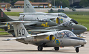 Saab 105 in front of historical jet fighters like Vampire, Hawker Hunt...