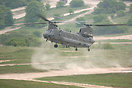 Chinook ZA674 at the 'dust bowl' in Tidworth Camp, near Everleigh.
