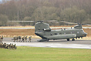 Chinook HC3 collecting troops at Carlisle during Exercise Joint Warrio...