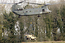 Chinook HC3 ZH898, collecting an underslung load at Carlisle during Ex...