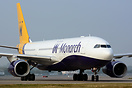 Monarch Airlines Airbus A330 arriving at London Gatwick from Tobago