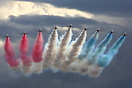 The Red Arrows Display team seen here in the stormy skys at the Duxfor...