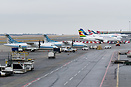 Ramp overview with sistership A2-ABO, Air Zimbabwe A320 Z-WPM, Egyptai...