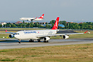 Turkish Airlines Boeing 737-800 TC-JGM is landing on runway 05 in the ...
