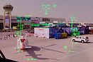 View throught the HUD (Head-up Display) on the apron, control tower an...