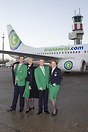 Transavia crew showing their new uniforms in front of their new colour...