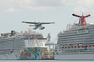 A typical takeoff seen from Watson island; overflying the Port of Miam...