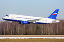 New SuperJet for Ministry of the Interior of Russia making low pass.
