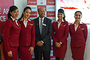 President of Boeing India Dinesh Keskar with Spicejet cabin crew. Spic...
