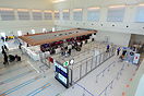 Baggage screening and check-in counters at Naha's new International Te...