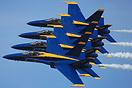 The 2014 US Navy Blue Angels Flight Demonstration diamond in formation...