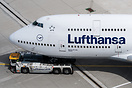 Being towed to the gate from the maintenance area by a Lufthansa LEOS ...