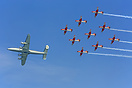 The Breitling Constellation performed a flypast with the Swiss Air For...