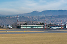 View on the General and Business aviation ramp and terminal, where mil...