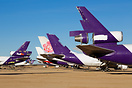 Various FedEx cargo airplanes being scrapped at Victorville airport