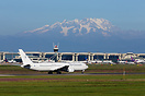An overview of Milan Malpensa airport with the Monte Rosa Alp mountain...
