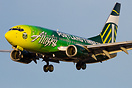 Alaska Airlines Portland Timbers Boeing 737 N607AS landing at Las Vega...