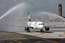 Water cannon salute for first arrival for the launch of new nonstop se...
