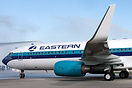 Water salute for the Eastern Air Line's first aircraft in Easterns fl...