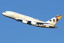 Etihad Airways first Airbus A380 A6-APA departing on its first revenue...