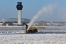 Snow clearance on one of the runways at Manchester.