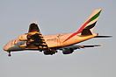 This Emirates Airbus A380 is wearing the ICC world Cup markings for th...