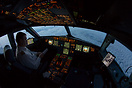 Cruising above France shortly before sunrise, using Ipads as EFBs