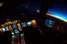 Left turn after departure from Paris after sunset