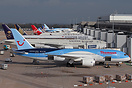 A morning line up of aircraft parked on Terminal 2 at Manchester.