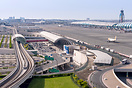 Terminal 3 entrance and metro station on the left side and terminal bu...