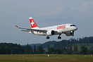 First landing of a Bombardier CS 100  at Zurich airport.