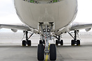 Closeup of the main landing gear and the undercarriage of a Boeing 747...