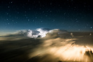 Thunderstorm over India at night. Captured from the flight deck.