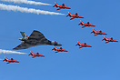 The Avro Vulcan in its final display season, in formation with the Red...