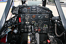 The cockpit of a former French Air Force jet trainer.