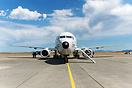 Head on of a Boeing P-8 Poseidon parked at the Naval air station, Ever...